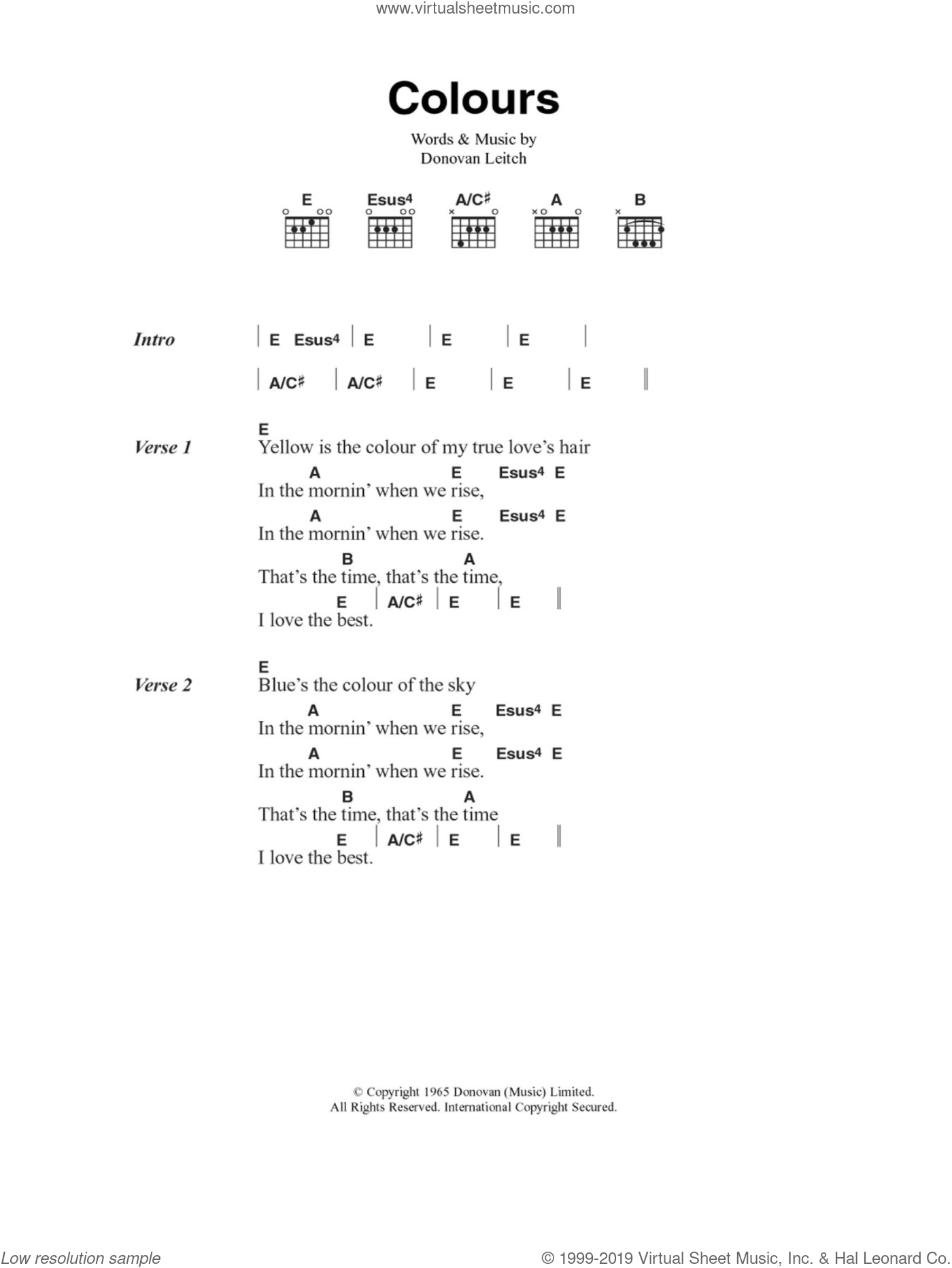 Colours sheet music for guitar (chords) by Walter Donovan and Donovan Leitch, intermediate