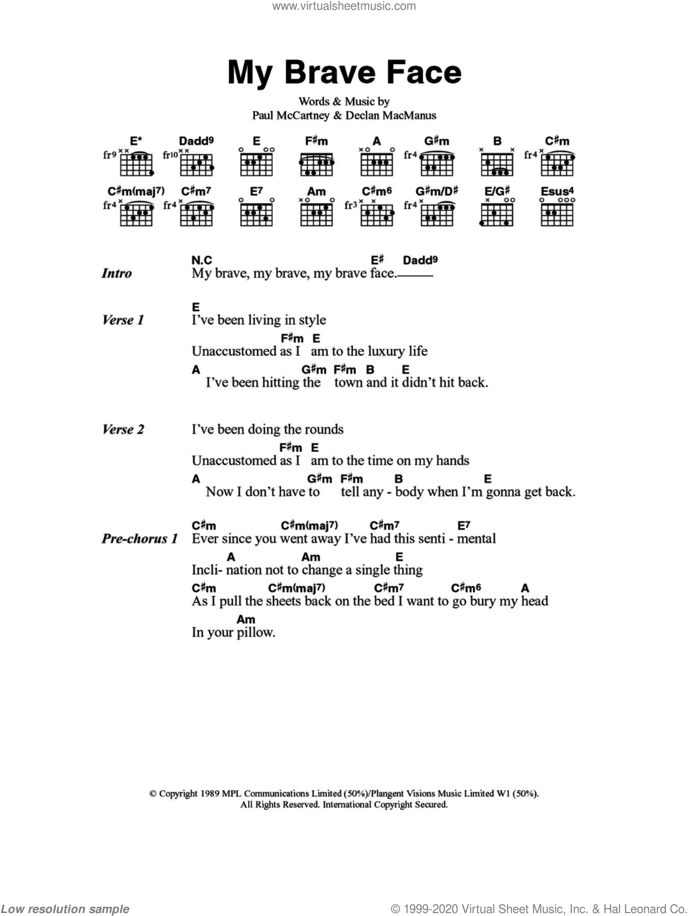 My Brave Face sheet music for guitar (chords) by Paul McCartney and Declan Macmanus, intermediate skill level