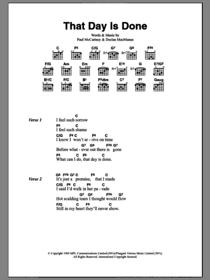 That Day Is Done sheet music for guitar (chords) by Declan Macmanus, Elvis Costello and Paul McCartney. Score Image Preview.