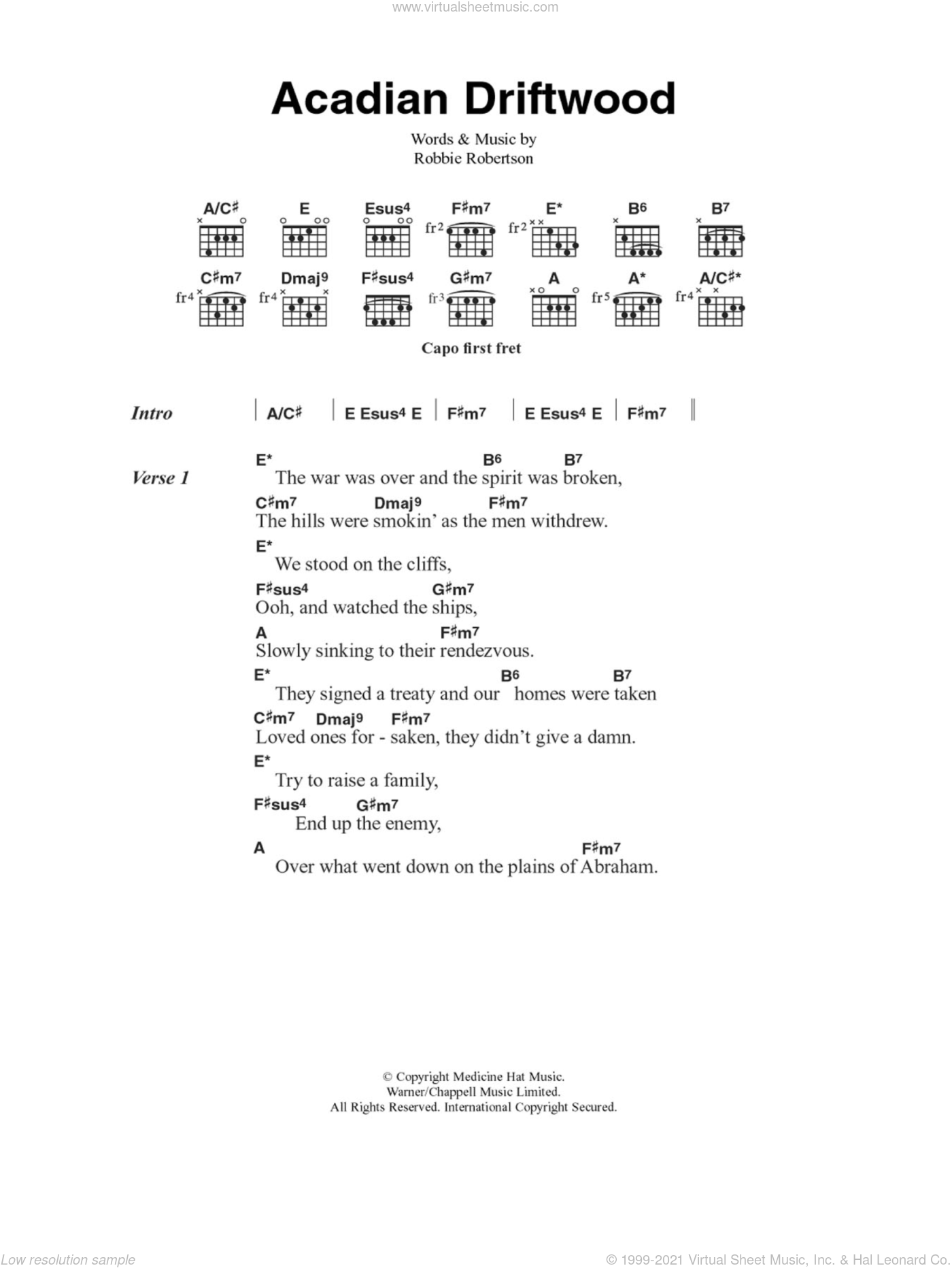 Acadian Driftwood sheet music for guitar (chords) by The Band and Robbie Robertson, intermediate guitar (chords). Score Image Preview.
