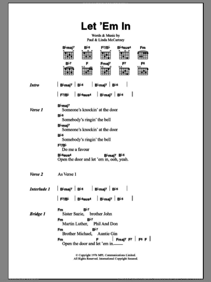 Let 'Em In sheet music for guitar (chords) by Linda McCartney
