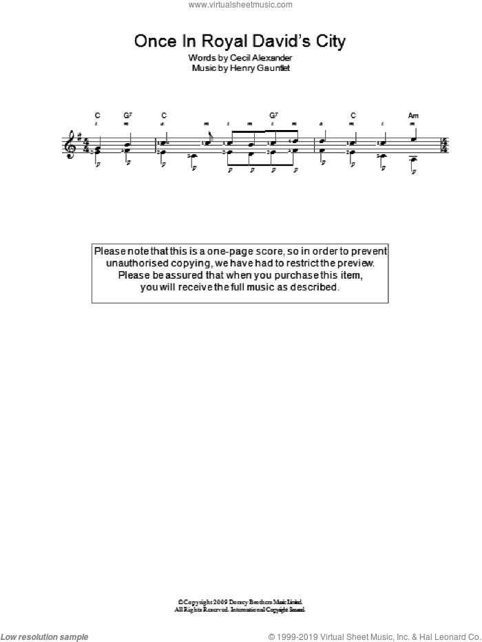 Once In Royal David's City sheet music for guitar solo (chords) by Cecil Alexander and Henry Gauntlett, easy guitar (chords)