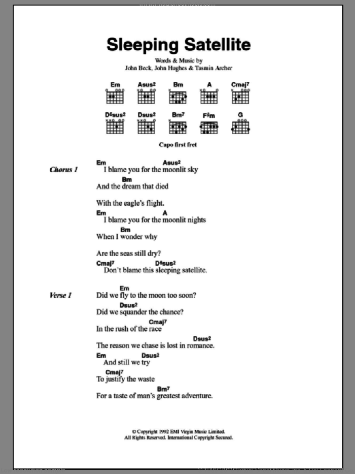 Sleeping Satellite sheet music for guitar solo (chords, lyrics, melody) by John Hughes
