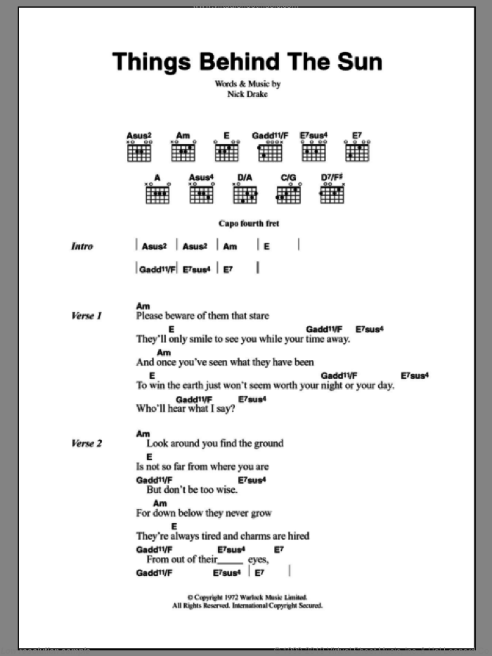 Things Behind The Sun sheet music for guitar (chords) by Nick Drake. Score Image Preview.