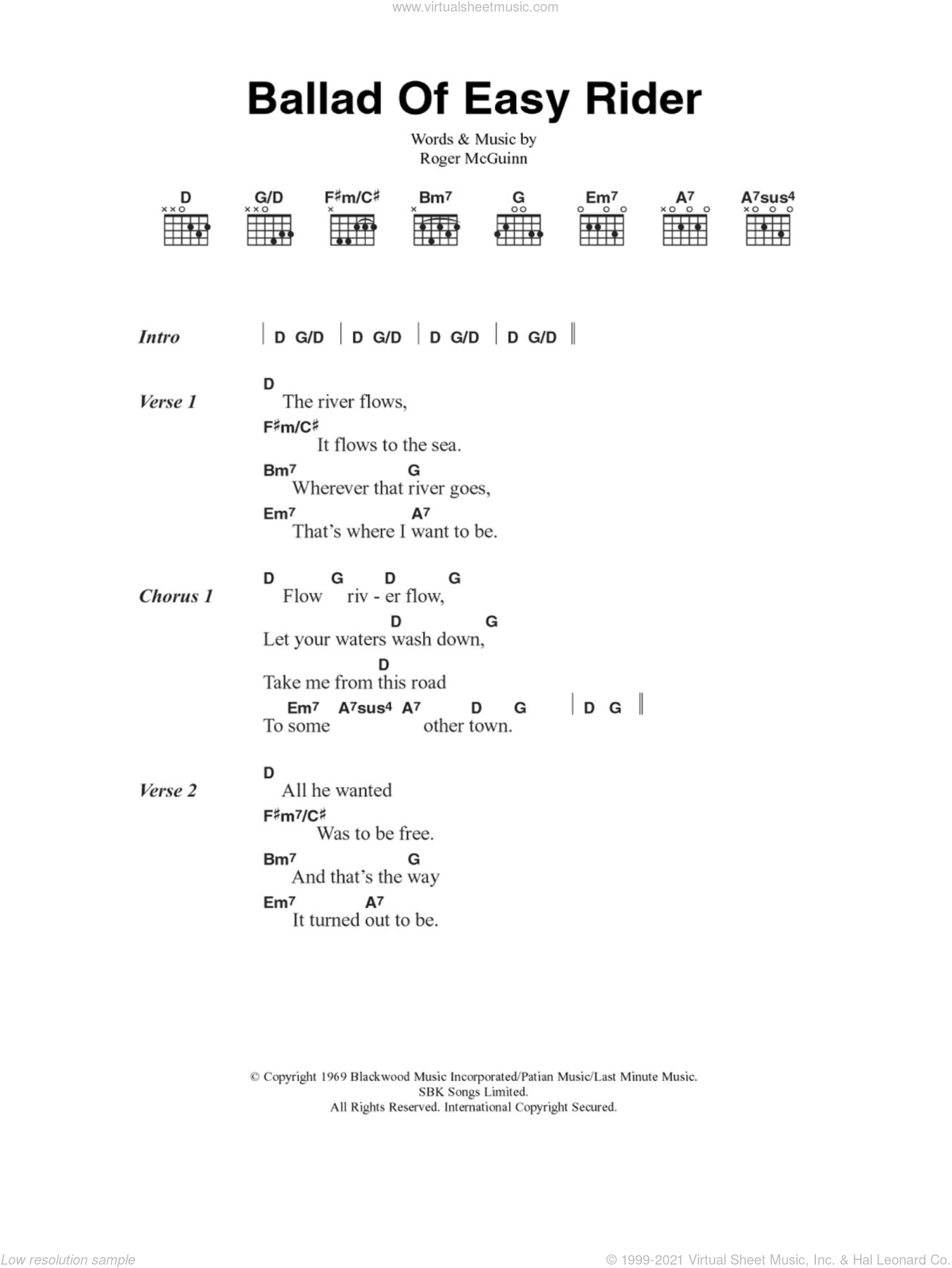 Ballad Of Easy Rider sheet music for guitar (chords) by The Byrds and Roger McGuinn, intermediate. Score Image Preview.