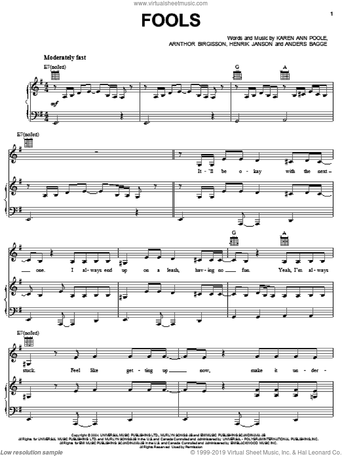 Fools sheet music for voice, piano or guitar by Karen Poole, Rachel Stevens and Arnthor Birgisson