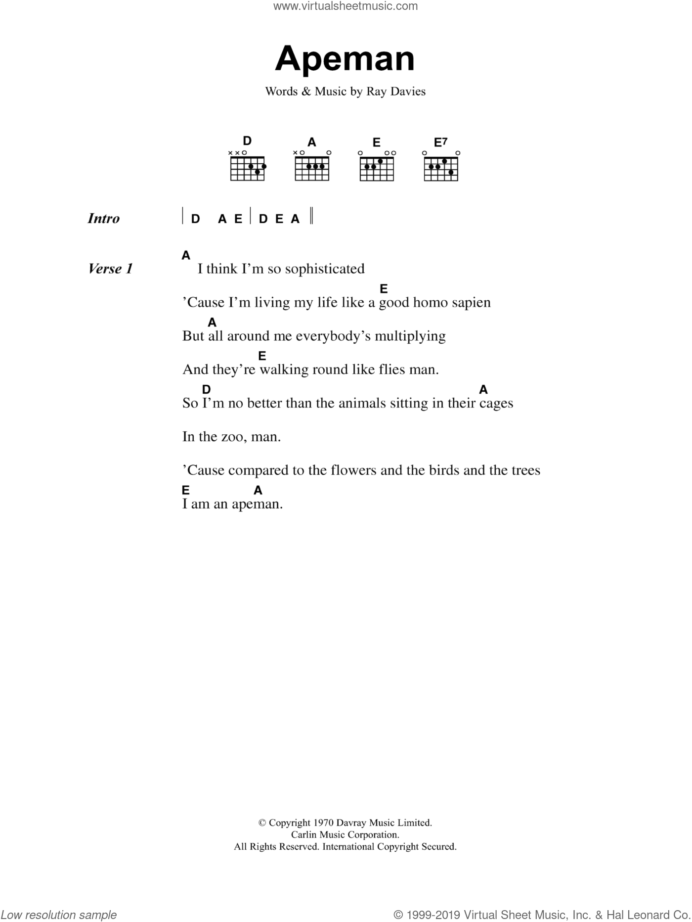 Apeman sheet music for guitar (chords) by Ray Davies and The Kinks. Score Image Preview.