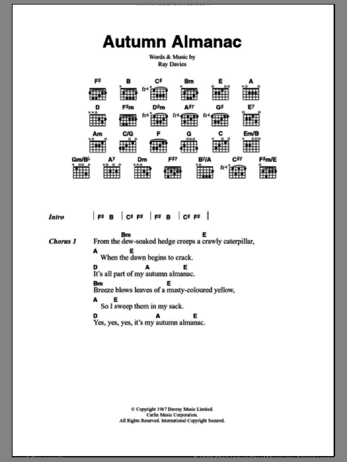 Autumn Almanac sheet music for guitar (chords) by Ray Davies and The Kinks. Score Image Preview.