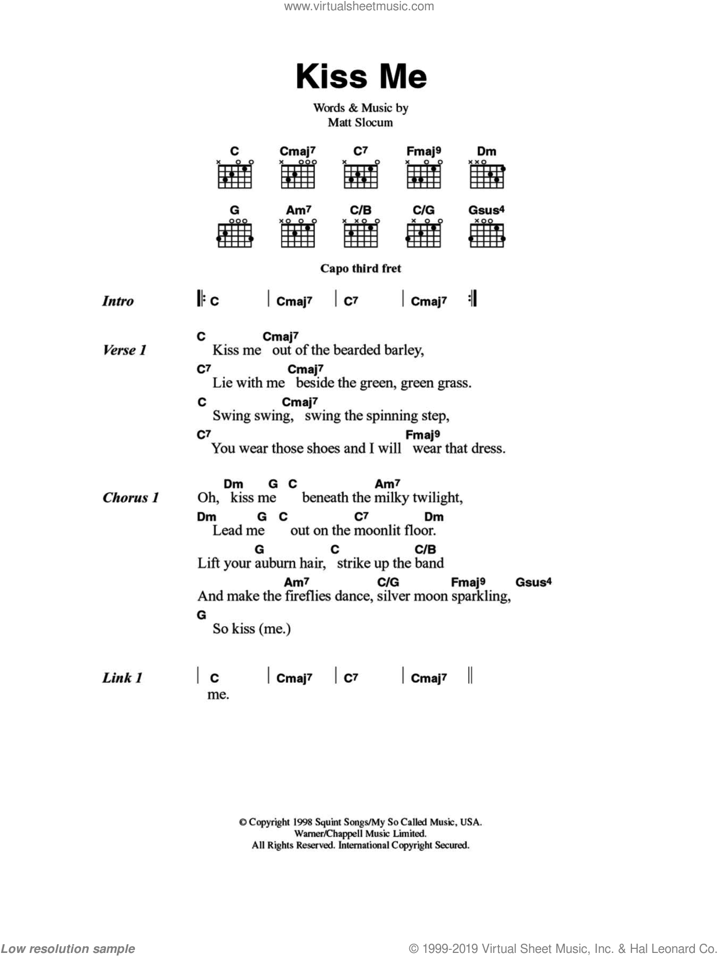 Kiss Me sheet music for guitar (chords) by Sixpence None The Richer, intermediate. Score Image Preview.
