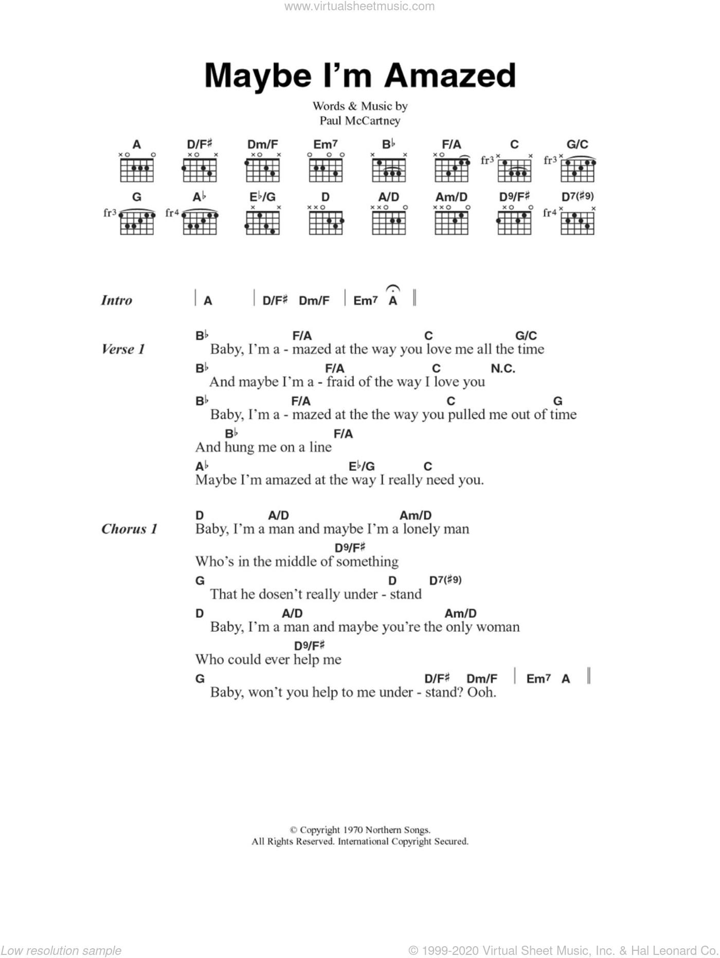 Maybe I'm Amazed sheet music for guitar (chords) by Paul McCartney