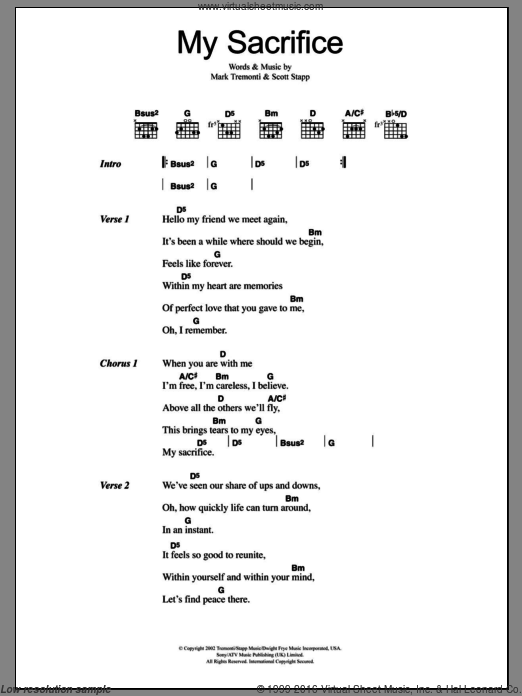 My Sacrifice sheet music for guitar (chords, lyrics, melody) by Scott Stapp