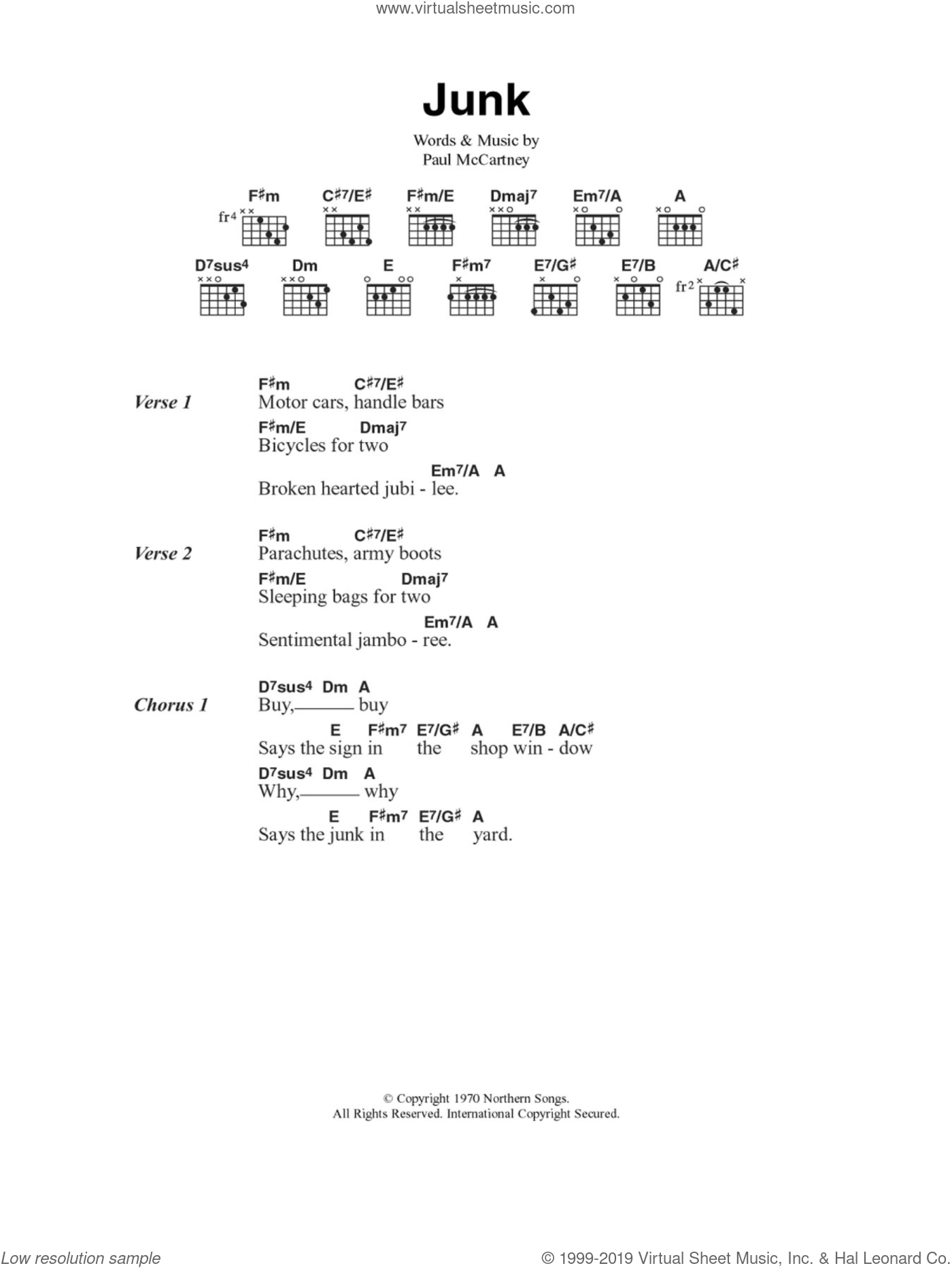 Junk sheet music for guitar (chords) by Paul McCartney, intermediate. Score Image Preview.