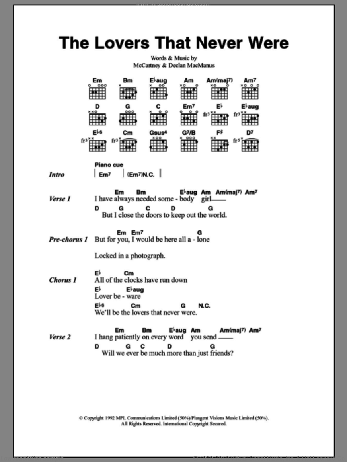 The Lovers That Never Were sheet music for guitar (chords, lyrics, melody) by Declan Macmanus