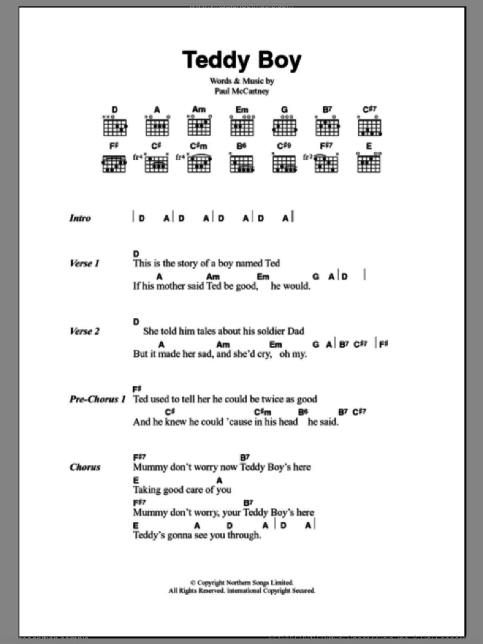 Teddy Boy sheet music for guitar (chords) by Paul McCartney. Score Image Preview.