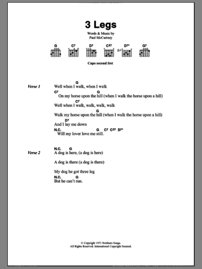 3 Legs sheet music for guitar (chords) by Paul McCartney, intermediate guitar (chords). Score Image Preview.