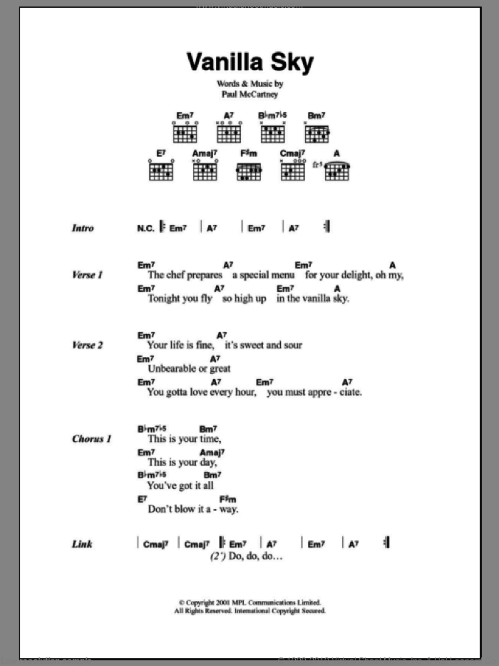 McCartney - Vanilla Sky sheet music for guitar (chords) [PDF]