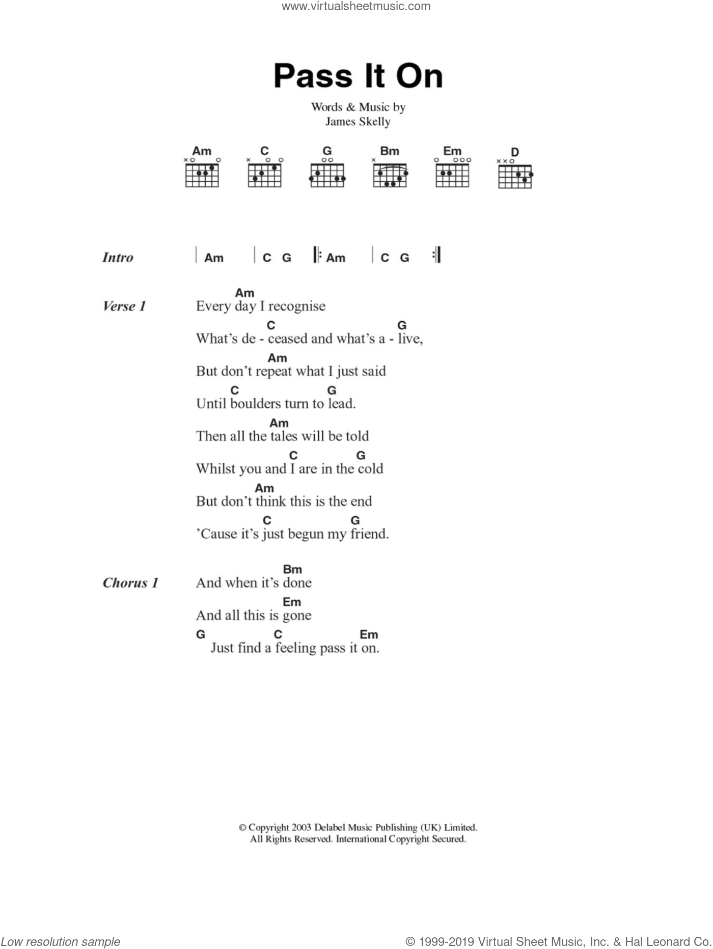 Pass It On sheet music for guitar (chords) by The Coral, intermediate. Score Image Preview.
