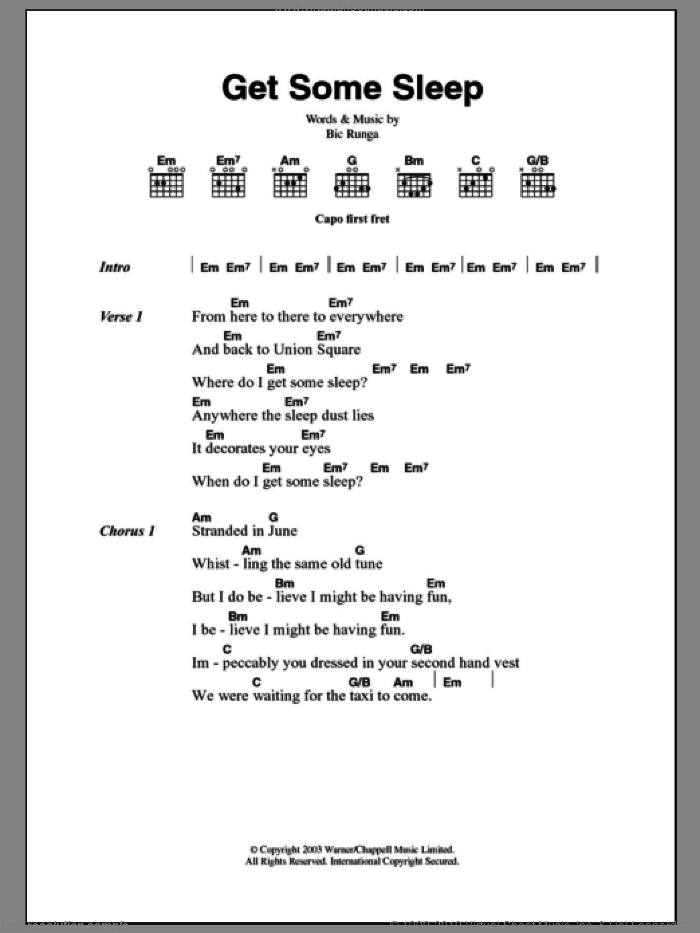 Get Some Sleep sheet music for guitar (chords) by Bic Runga, intermediate skill level