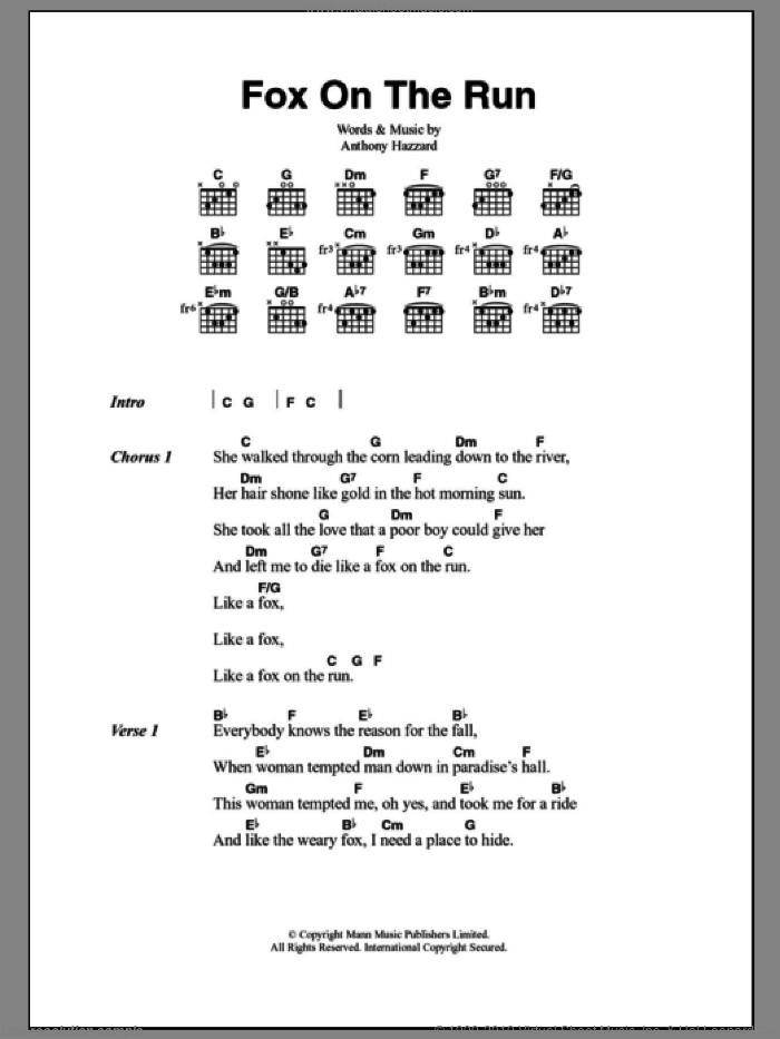 Fox On The Run sheet music for guitar (chords) by Tony Hazzard, Manfred Mann and Sweet, intermediate skill level