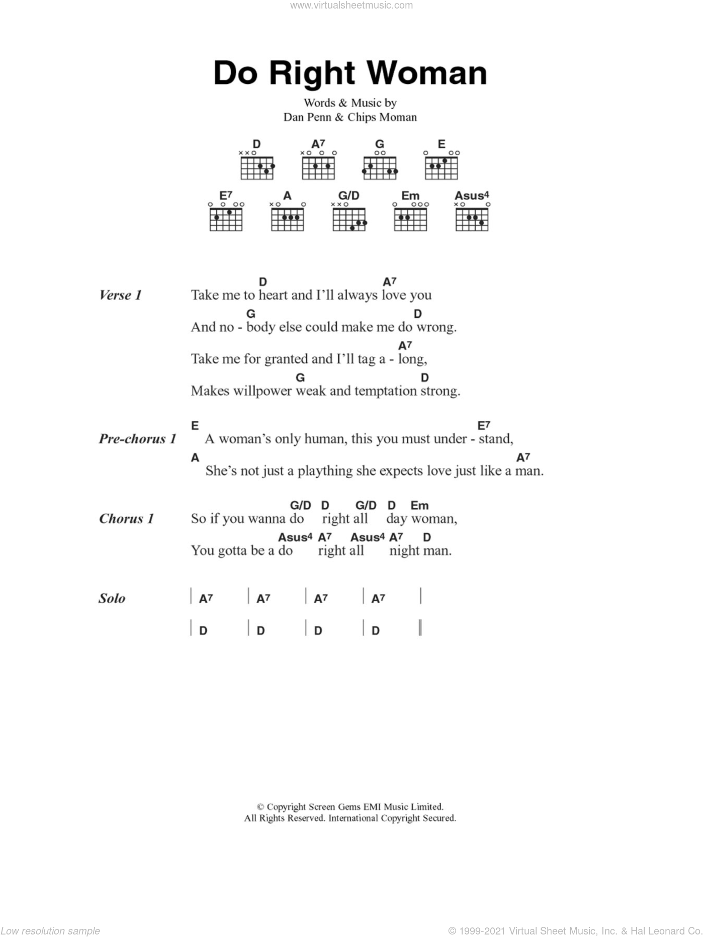 Do Right Woman sheet music for guitar (chords, lyrics, melody) by Dan Penn