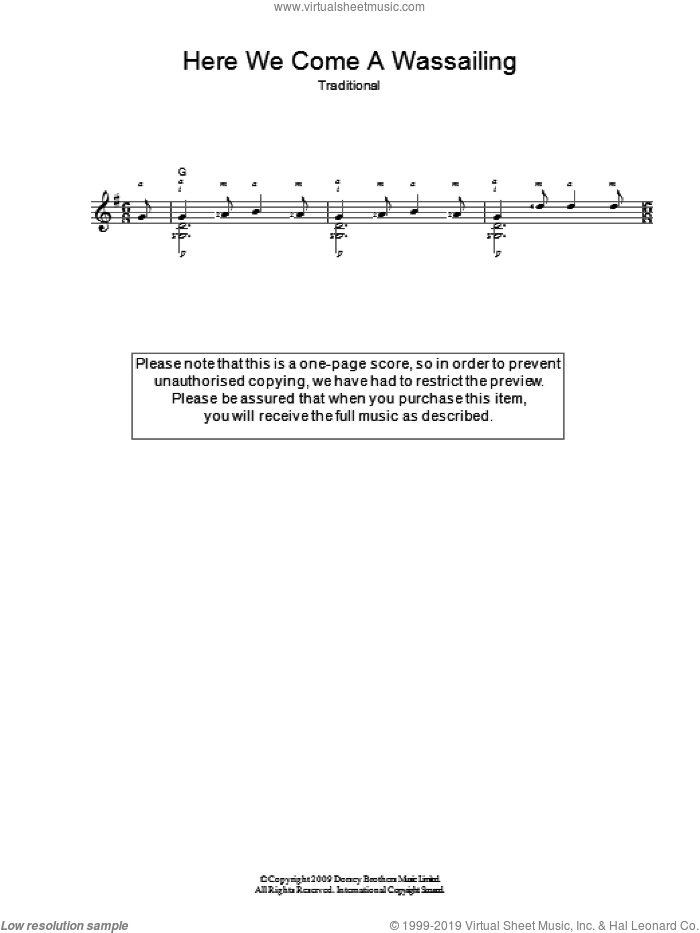 Here We Come A-Wassailing sheet music for guitar solo (chords)
