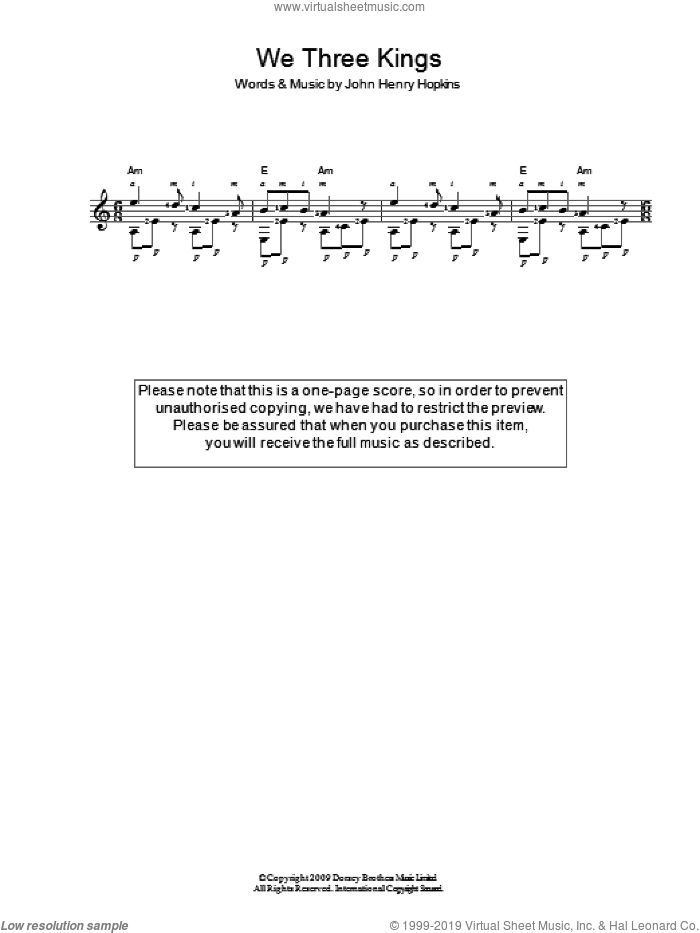We Three Kings Of Orient Are sheet music for guitar solo (chords) by John H. Hopkins, Jr., easy guitar (chords)