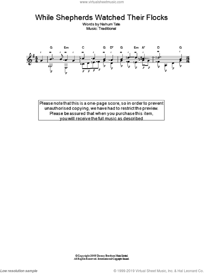 While Shepherds Watched Their Flocks sheet music for guitar solo (chords) by Nahum Tate and Miscellaneous. Score Image Preview.