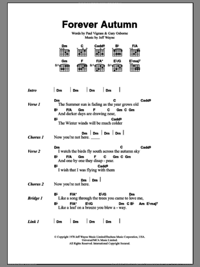 Forever Autumn sheet music for guitar (chords) by Jeff Wayne, Justin Hayward, Gary Osborne and Paul Vigrass, intermediate skill level