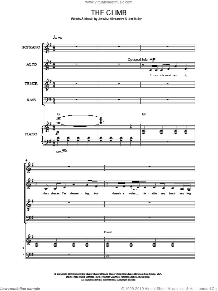 The Climb sheet music for choir (SATB) by Miley Cyrus and Joe McElderry. Score Image Preview.
