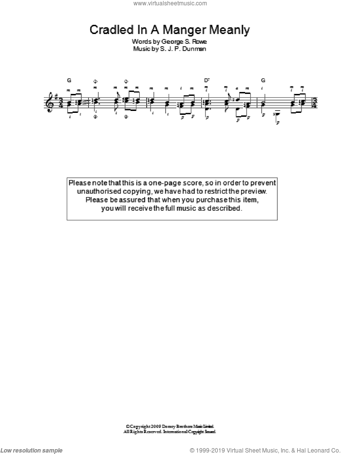 Cradled In A Manger, Meanly sheet music for guitar solo (chords), easy guitar (chords). Score Image Preview.