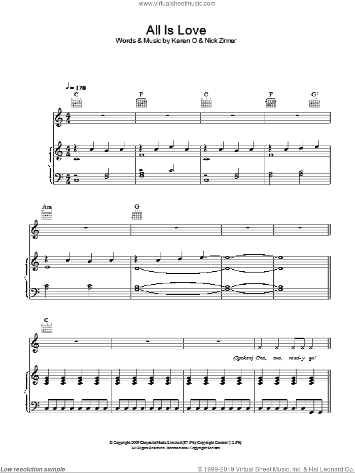 All Is Love sheet music for voice, piano or guitar by Karen O & The Kids, Karen O and Nick Zinner, intermediate skill level