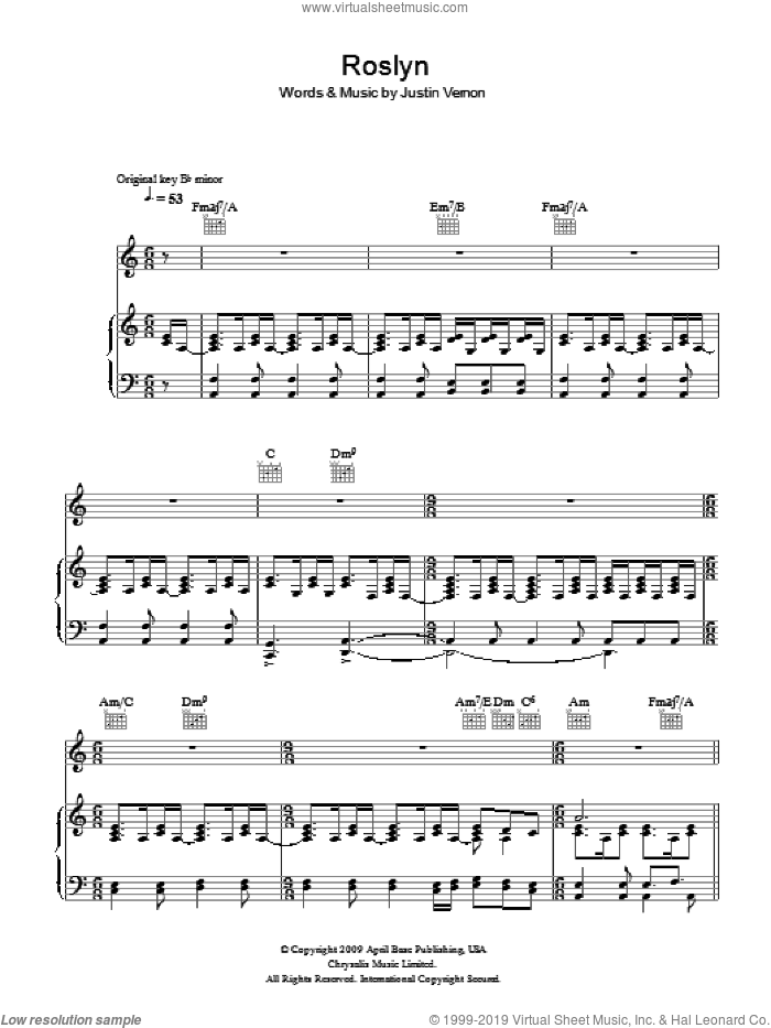 Rosyln sheet music for voice, piano or guitar by Justin Vernon and Bon Iver. Score Image Preview.