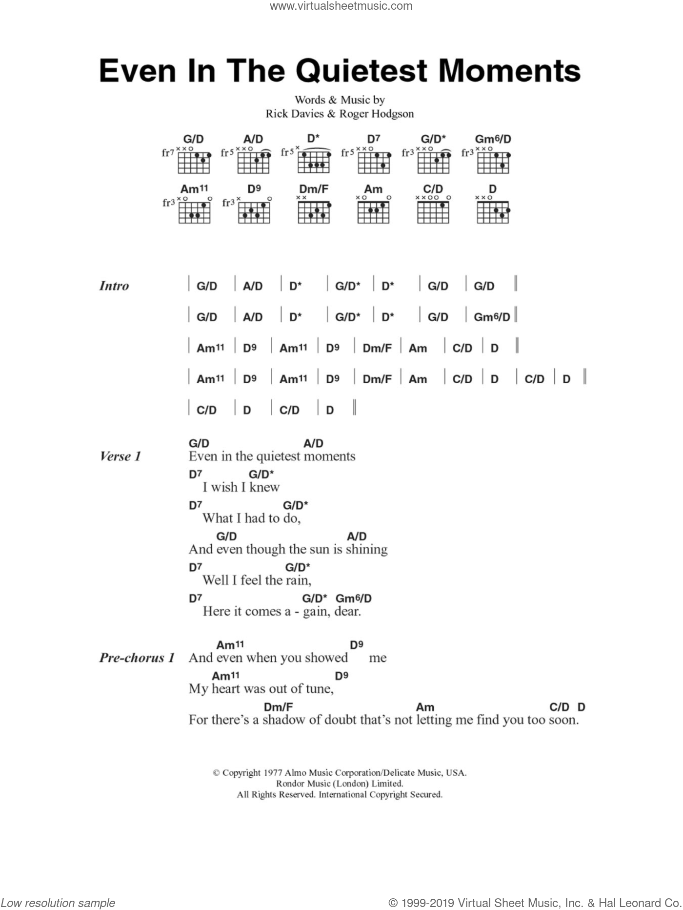 Even In The Quietest Moments sheet music for guitar (chords, lyrics, melody) by Roger Hodgson