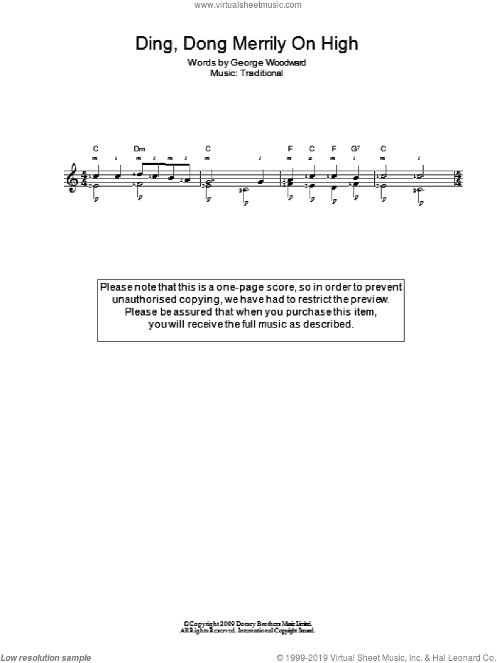 Ding Dong! Merrily On High! sheet music for guitar solo (chords)  and George Woodward, easy guitar (chords)