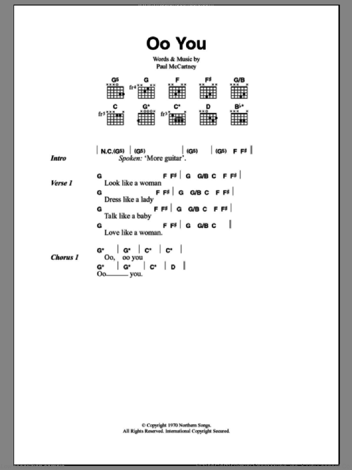 Oo You sheet music for guitar (chords) by Paul McCartney, intermediate guitar (chords). Score Image Preview.