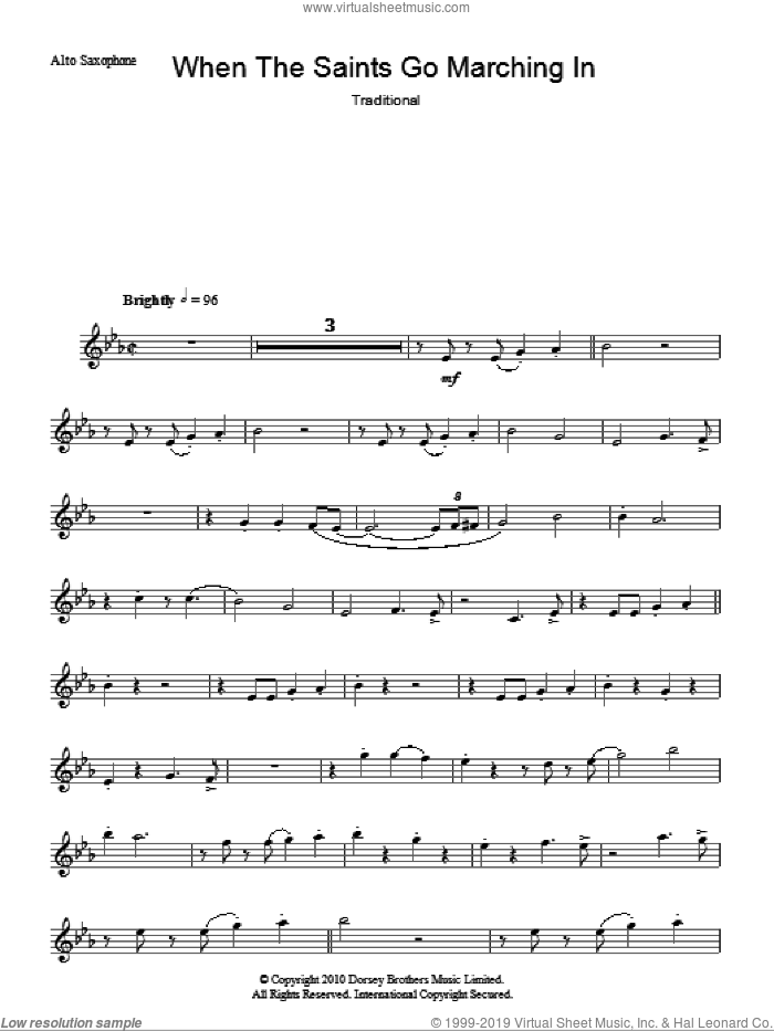When The Saints Go Marching In sheet music for voice and other instruments (fake book), intermediate. Score Image Preview.