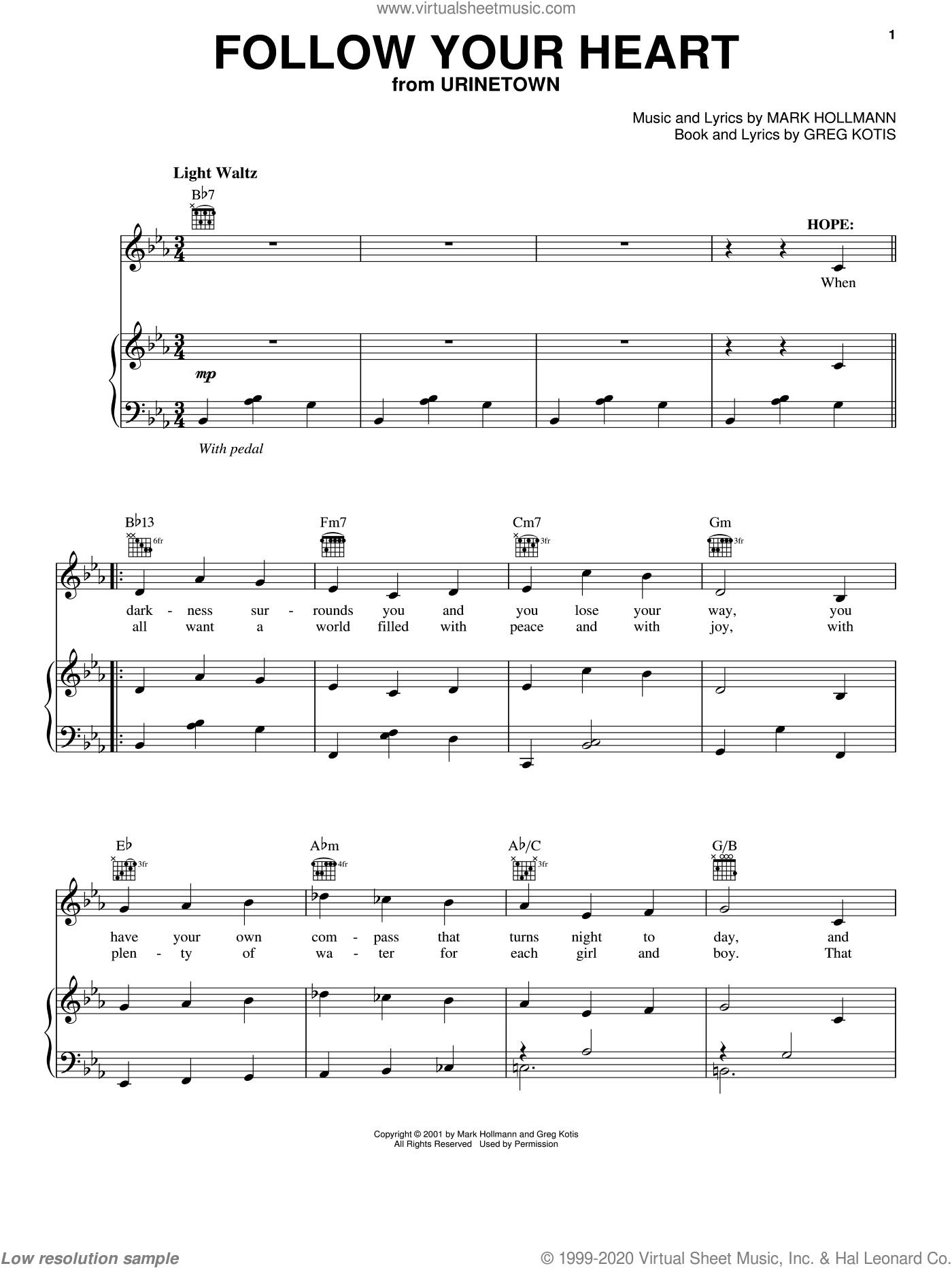 Follow Your Heart sheet music for voice, piano or guitar by Urinetown (Musical), Greg Kotis and Mark Hollmann, intermediate voice, piano or guitar. Score Image Preview.