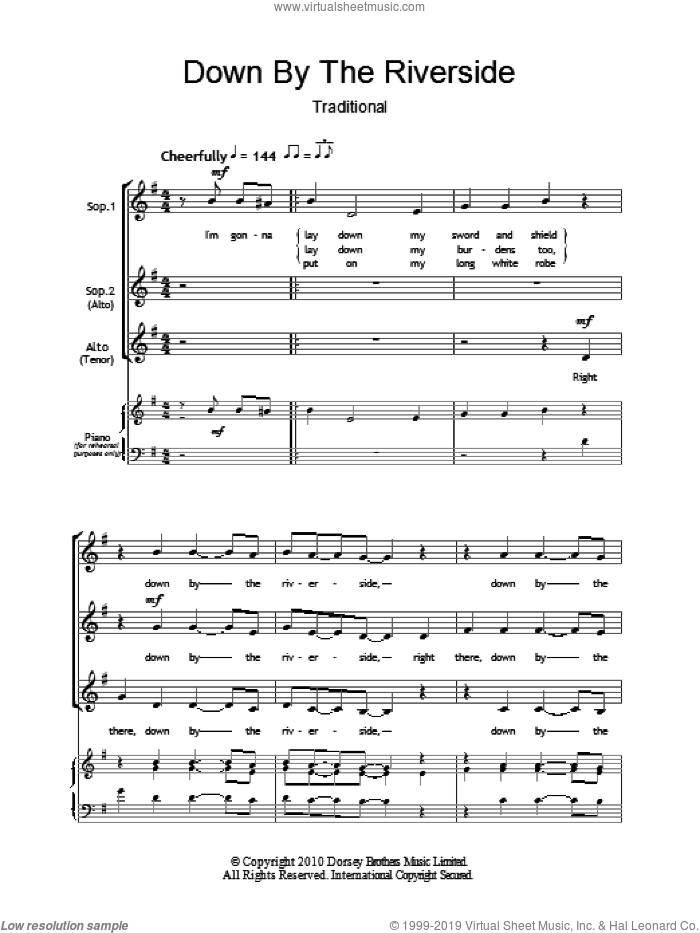 Down By The Riverside sheet music for choir (SSA: soprano, alto), intermediate skill level