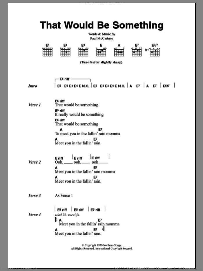 That Would Be Something sheet music for guitar (chords) by Paul McCartney. Score Image Preview.