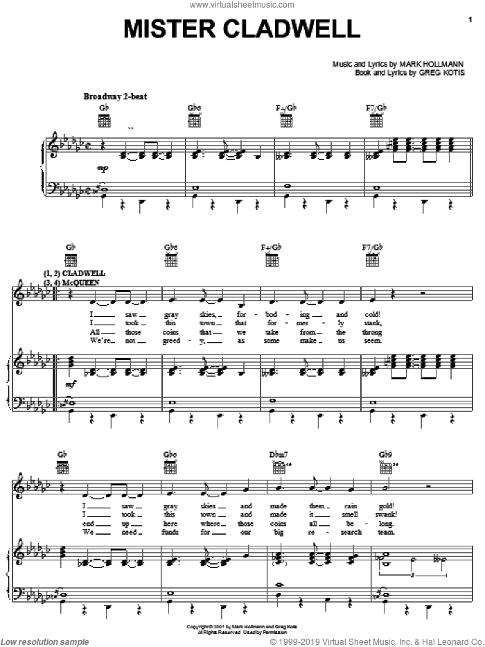 Mister Cladwell sheet music for voice, piano or guitar by Urinetown (Musical), Greg Kotis and Mark Hollmann, intermediate skill level