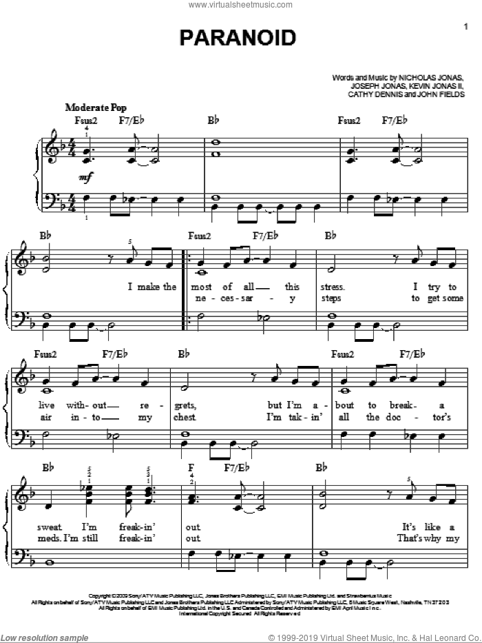 Paranoid sheet music for piano solo by Nicholas Jonas, Cathy Dennis, John Fields and Joseph Jonas. Score Image Preview.