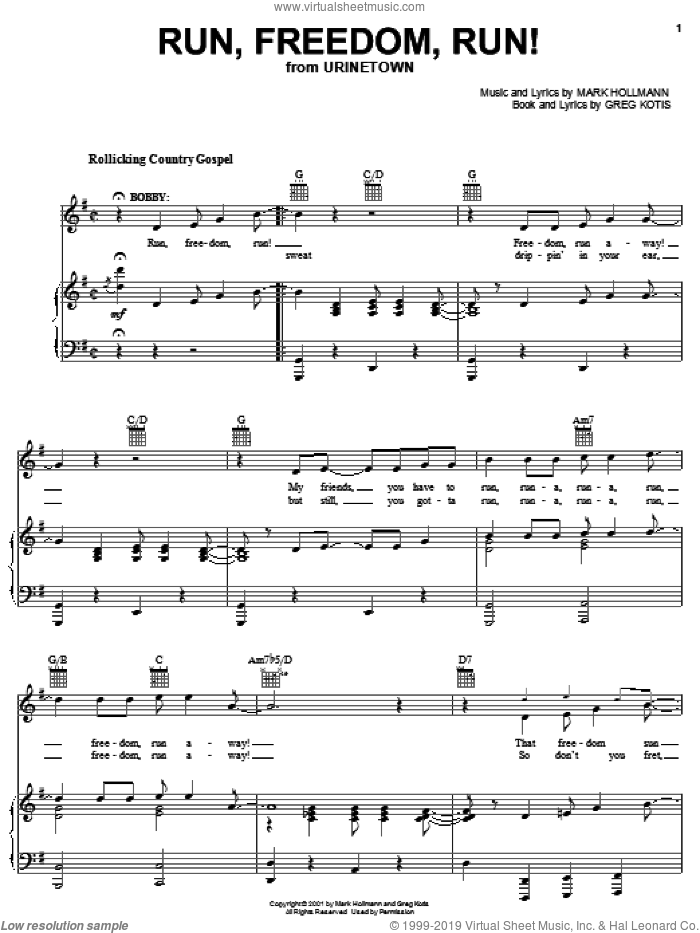 Run, Freedom, Run! sheet music for voice, piano or guitar by Mark Hollmann