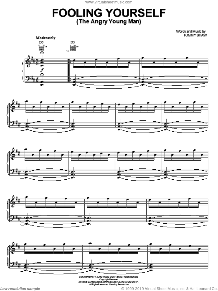 Fooling Yourself (The Angry Young Man) sheet music for voice, piano or guitar by Tommy Shaw and Styx. Score Image Preview.