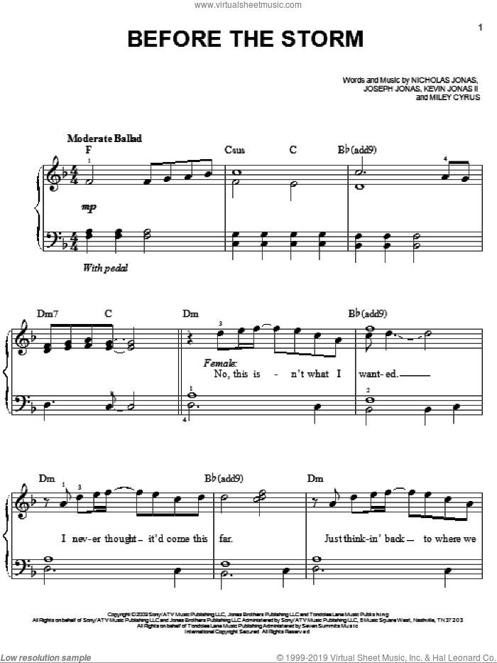 Before The Storm sheet music for piano solo by Jonas Brothers featuring Miley Cyrus, Jonas Brothers, Joseph Jonas, Kevin Jonas II, Miley Cyrus and Nicholas Jonas, easy skill level