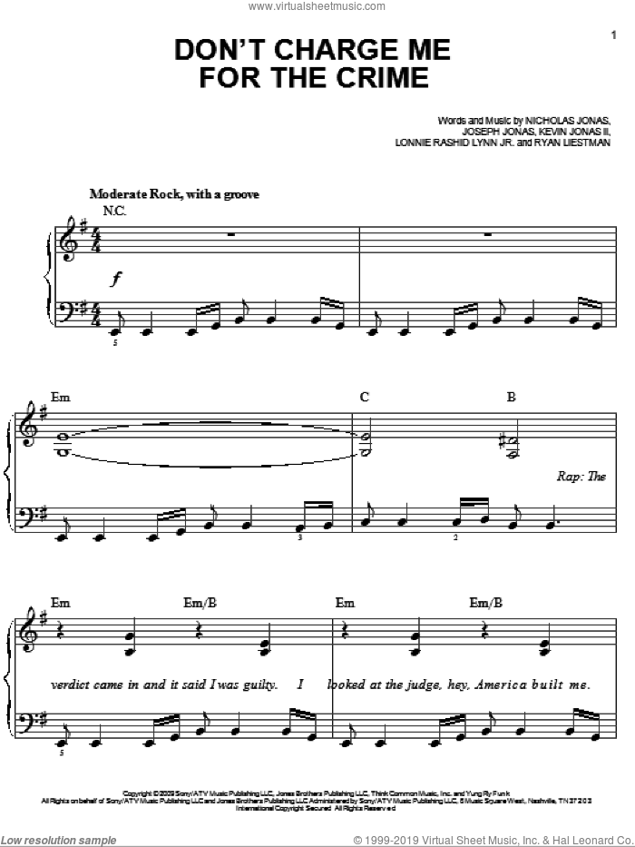 Don't Charge Me For The Crime sheet music for piano solo by Ryan Liestman, Joseph Jonas and Nicholas Jonas. Score Image Preview.