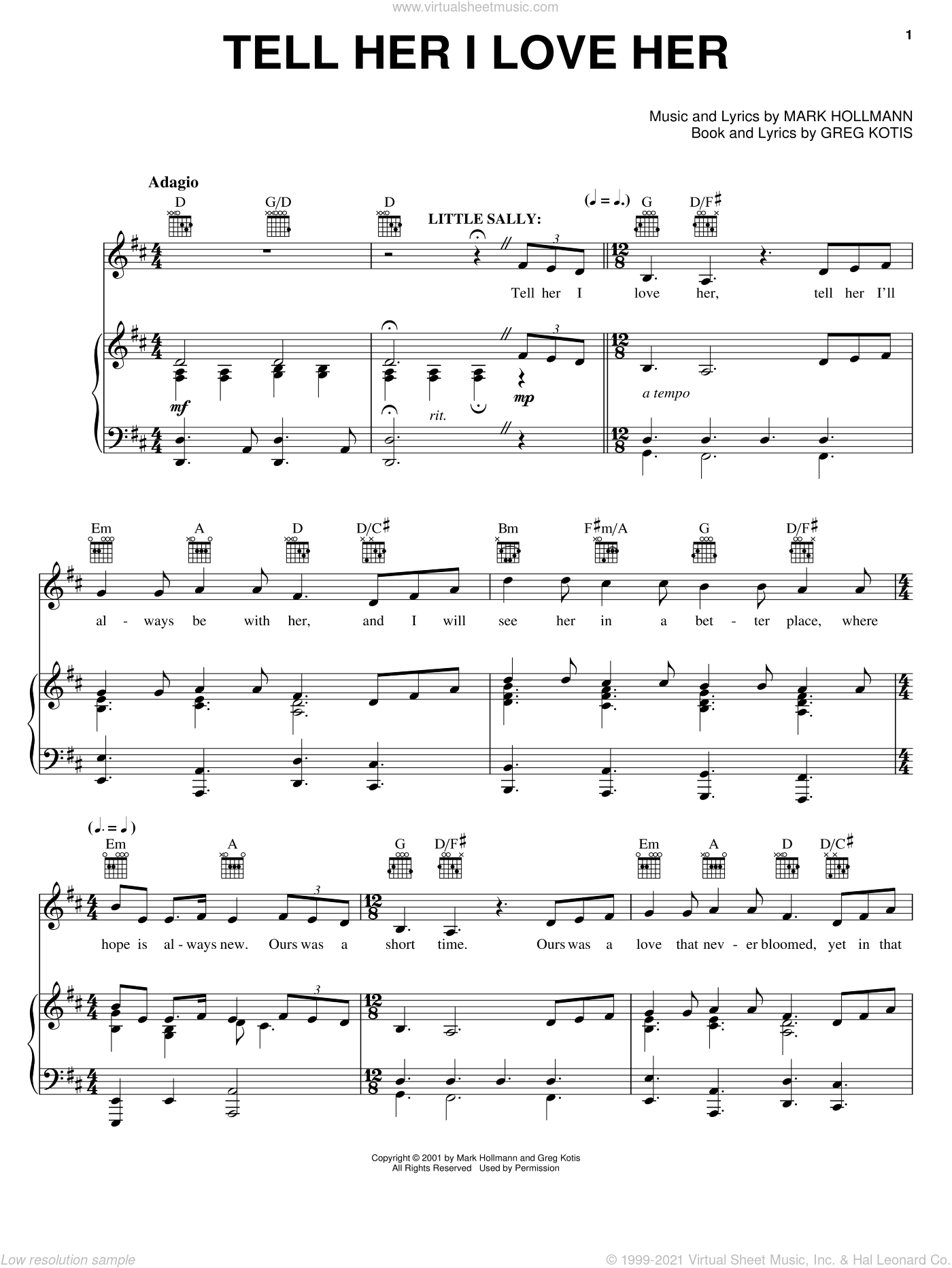 Tell Her I Love Her sheet music for voice, piano or guitar by Urinetown (Musical), Greg Kotis and Mark Hollmann, intermediate skill level