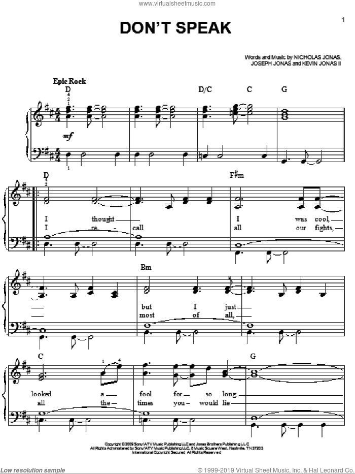 Don't Speak sheet music for piano solo by Nicholas Jonas and Joseph Jonas. Score Image Preview.