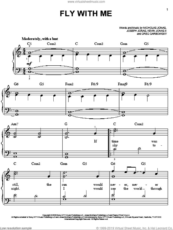 Fly With Me sheet music for piano solo by Jonas Brothers and Nicholas Jonas. Score Image Preview.