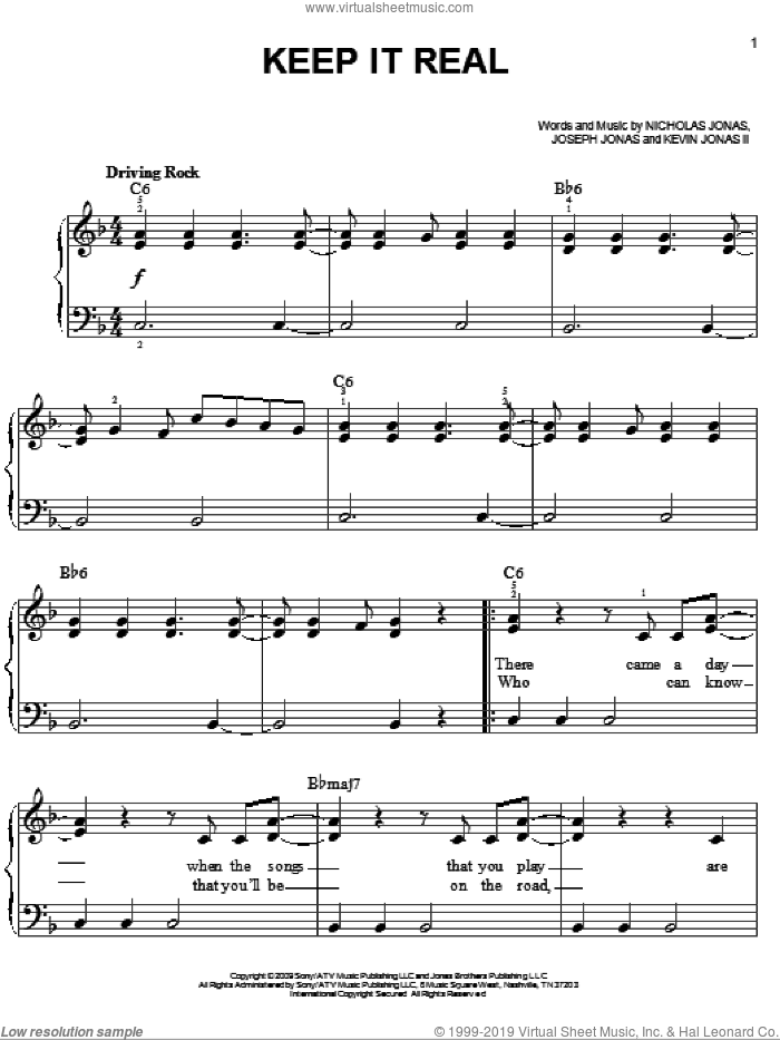 Keep It Real sheet music for piano solo by Nicholas Jonas and Joseph Jonas. Score Image Preview.