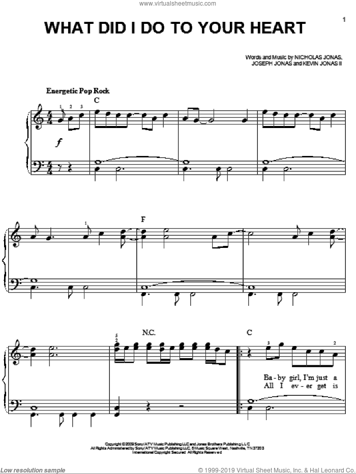 What Did I Do To Your Heart sheet music for piano solo by Jonas Brothers and Nicholas Jonas. Score Image Preview.